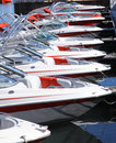 Row of boats moored in lake tahoe california Stock Image