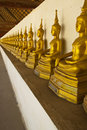 Row of Buddha image under  pavilion Stock Photography