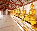 Row of buddha sculptures Royalty Free Stock Photos