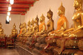 The row of buddha statue Stock Image
