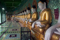 Row of Buddhas in U Min Thonze cave ,Sagaing hill,Myanmar. Royalty Free Stock Photo