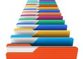 Row of color folders Royalty Free Stock Images