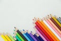 Row of color pencil crayons colorful with copy space Stock Photos
