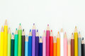 Row of color pencil crayons colorful with copy space Royalty Free Stock Photography