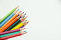 Row of color pencil crayons colorful with copy space Stock Image