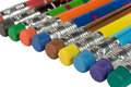 Row of color pencils with erasers Stock Photo