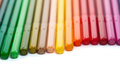Row colored felt tip pens isolated white Stock Photos