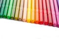 Row colored felt tip pens isolated white Stock Photography