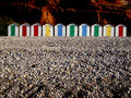 Row of colorful beach huts Royalty Free Stock Photography