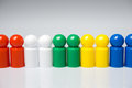 Row of colorful pawns for board games Royalty Free Stock Photo