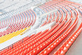 Row of colorful seats at the football stadium. Royalty Free Stock Photo