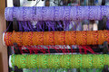 Row of colorful thread bracelets on jewelry market by in turkey Stock Image
