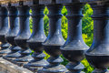 Row of columns detail pattern in a stone railing Royalty Free Stock Image