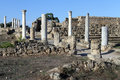 Row of columns and street in salamis north cyprus Stock Photography