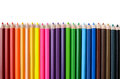 Row of crayon on white background Royalty Free Stock Images