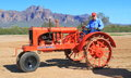 Row crop tractor was exhibition apache junction arizona usa march superstition mountains background model has steel channel iron Stock Photo