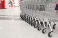 Row of empty cart in the supermarket big Royalty Free Stock Photo