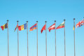 Row european flags against blue sky background Royalty Free Stock Photos