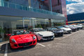 Row of ferrari cars in dealership Royalty Free Stock Photos
