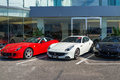 Row of ferrari cars in dealership Royalty Free Stock Images