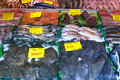 Row fish stall a at the wet market of the hague netherlands Royalty Free Stock Photos