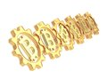 Row of a gears with a bitcoin sign isolated