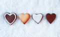 Row of gingerbread hearts Royalty Free Stock Photos