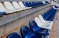 Row of grandstand chairs in stadium Royalty Free Stock Photography