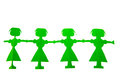 Row of green paper dolls female isolated over white background Royalty Free Stock Images