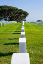 Row of headstones at a cemetery Royalty Free Stock Photos