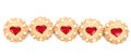 Row heart shaped strawberry biscuit white background Royalty Free Stock Image