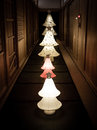 A Row of Japanese paper Lanterns in Kyoto Royalty Free Stock Photo