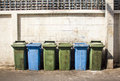 Row of large green bins a Royalty Free Stock Image