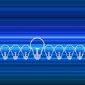Row of light bulbs on blue deamless background Stock Photography