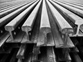 Row of light rail steel black and white Stock Image
