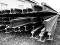 Row of light rail steel black and white Stock Images