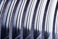 Row of metal pieces stainless steel details Royalty Free Stock Images