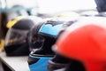 Row of moto helmets Royalty Free Stock Photo
