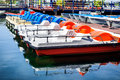 Row of multicolored catamarans Royalty Free Stock Image