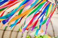 Row of multicolored textile stripes in the wind Royalty Free Stock Photo