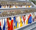 The row of nautical flags closeup Royalty Free Stock Photo