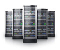Row of network servers in data center Royalty Free Stock Photo