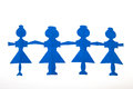 Row of paper dolls blue female isolated over white background Royalty Free Stock Photography