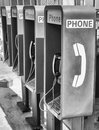 Row of public telephones black and white Royalty Free Stock Photos