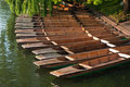 Row of punts in Cambridge in  dock Royalty Free Stock Photography
