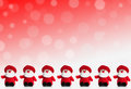Row of puppets of santa claus on a red background with snow Royalty Free Stock Photo