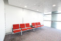 Row of red chair at airport shot in asia hong kong Royalty Free Stock Photo