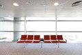 Row of red chair at airport shot in asia hong kong Stock Images