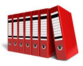 Row of red office folders Royalty Free Stock Photos