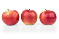 Row of red ripe apples with reflection isolated on white